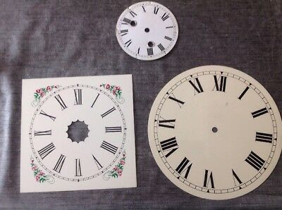 Three Vintage Clock Dials Metal 21.5cm Square 25cm 12.5cmm Diameter Round