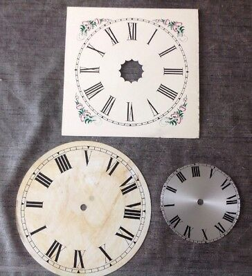 Three Vintage Clock Dials Metal 24cm Square 23cm 13cm Diameter Round