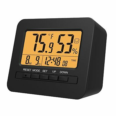 LED Digital Alarm Clock Desktop Bedside Clock Timer Calendar Indoor Thermometer