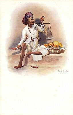 India Ethnic Native Man 'fruit Seller'  Holds Hand Scales Early Art Card