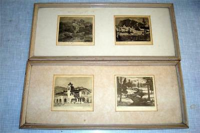 Four Lloyd McGee framed,  signed, and titled etchings