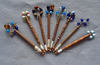 8 Vintage Wooden Lace Bobbins with Spangles