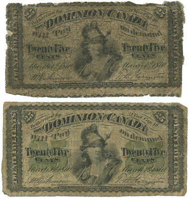 Set of Two 1870 Dominion of Canada 25 Cent Banknotes