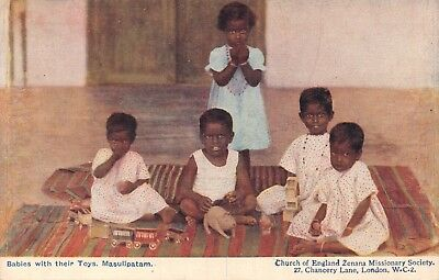 India Ethnic 'babies With Their Toys Masulipatam' Missionary Printed Card