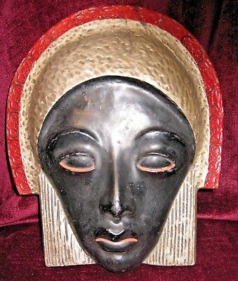 Stunning French Art Deco Wall Mask - signed on reverse - 1933.