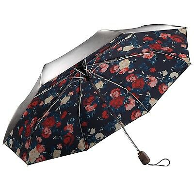 Auto Open Close Folding Rain Compact Umbrella Windproof Red Flowers Roses Black