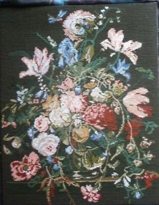 Floral Elegance by Penelope  Needlepoint Tapestry Completed Vintage Picture