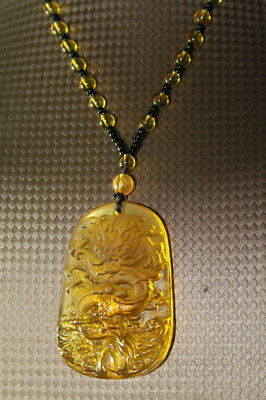 Handwork Decoration Exquisite China Crystal Carved Dragon Beautiful Necklaces