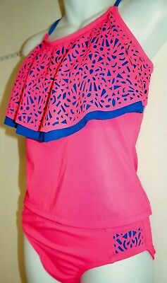 NWOT Girls Size 18 Justice Laser Cut Neon Pink Modest 2 Two Pc Tankini Swimsuit