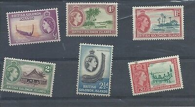 British Solomon Islands stamps. lower values of the 1956 series MH (B984)