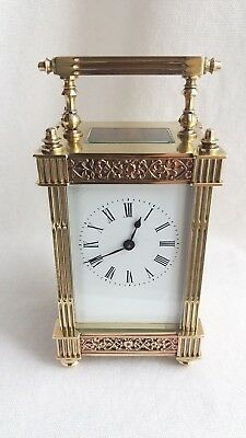 Antique late 19th Century Victorian brass carriage clock timepiece.