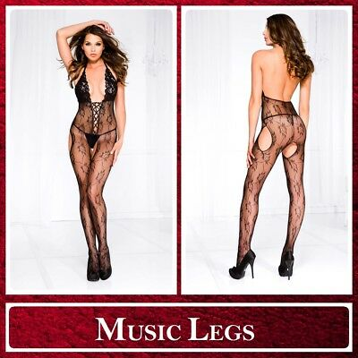 Sexy Lingerie Bodystocking nera Lacing Music Legs Intimo Donna Sex Toys Erotic