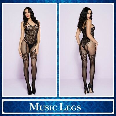Sexy Lingerie Bodystocking nera aperta Music Legs 1783 Intimo Donna Sex Toys hot