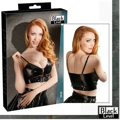 Top in vinile nero laccato con zip e fibbia Black Level Fetish lingerie erotic x