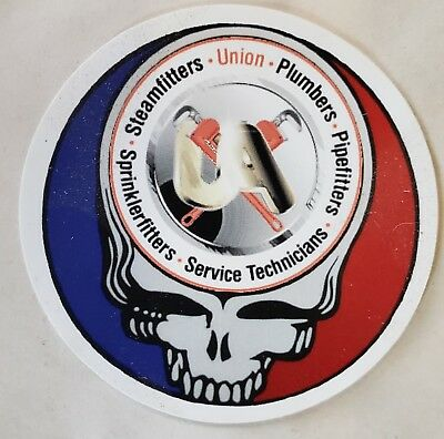 "Plumbers, Steamfitters, Pipefitters Union ""Steal your Face "" hard hat stickers"