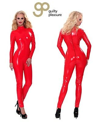 Tuta in lattice rosso Catsuit Latex Zipper Guilty Pleasure Sexy shop toy fetish