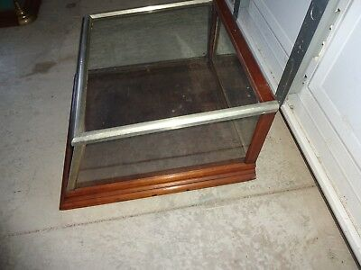 Rare Antique Nickel Plated & Wood Slanted Glass Counter Display - Showcase