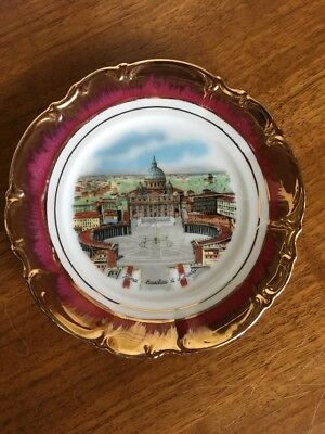 Vintage Rome Roma St. Peter's Basilica Scenic Porcelain Plate Souvenir of Italy