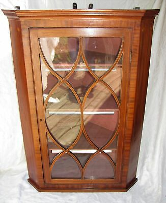 Antique English Georgian Mahogany Hanging Corner Cupboard 18th Century