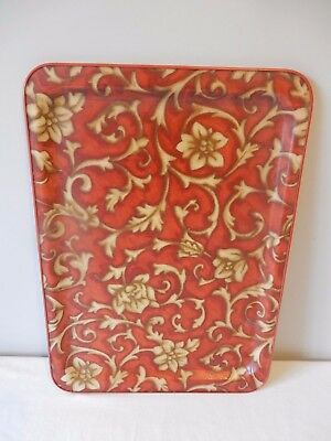 Very Attractive Vintage Oblong Fibreglass Tray Red/Gold Design 1960s/70s Good