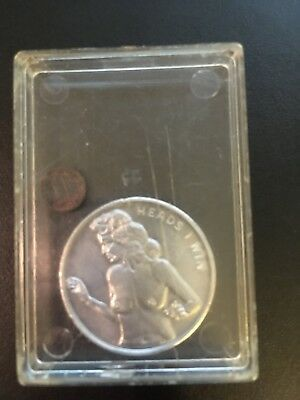 Vintage Heads I Win Tails You Lose Aluminum Lady Token