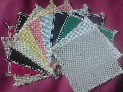 14ct Aida 12 pieces of 4x4inch for cards/costers starters  DMC/Anchor threads