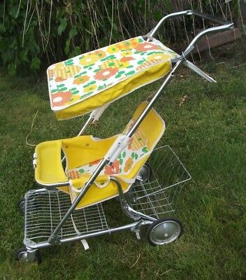 VTG Retro Baby Stoller Carriage Peterson Walker Flowers Yellow