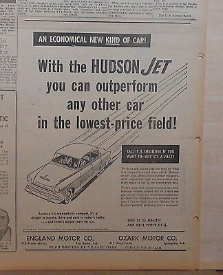 1953 newspaper ad for Hudson Jet - Economical kind of car, outperforms