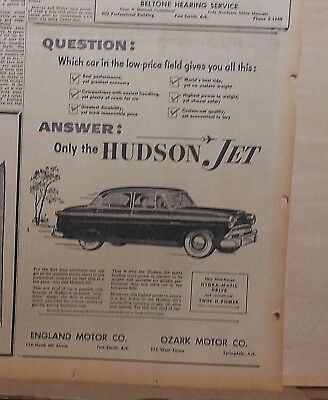 1953 newspaper ad for Hudson Jet - list of features, qualities of Hudson Jet