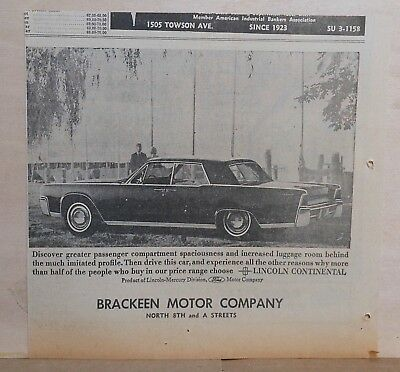 1963 newspaper ad for Lincoln Continental - greater spaciousness, luggage room
