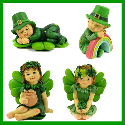 Fairy Garden Fun Lucky Irish Leprechaun Fairy Boys Sleeping Set Of 4i Dollhouse
