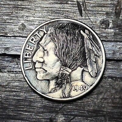 #199 Silver 1949 Indian Head Hobo Dime By JAM RM 1528