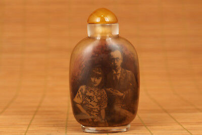 china old Glass Hand Painting Qing Dynasty end Emperor puyi Statue Snuff bottle