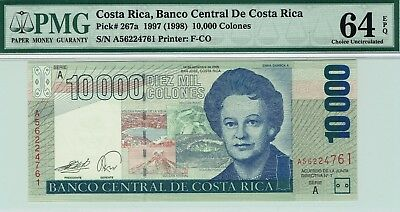 Banco Central de Costa Rica 10000 Colones P-267d PMG 64 EPQ Choice Uncirculated