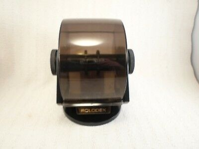 VTG 80s ROLODEX WITH BLANK INDEX CARDS SWIVEL BLACK & FAUX WOOD SW-24C USA MADE