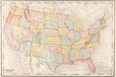 Map Of Usa - Vintage 1896-Poster-Laminated available-91cm x 61cm-Brand New-PA...