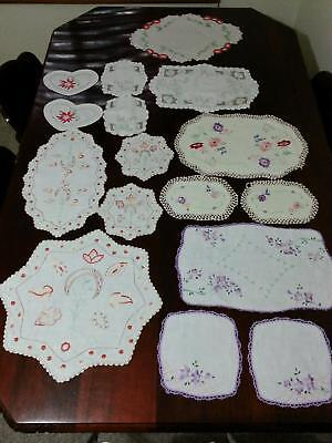 Bulk Lot of Vintage Embroidered  Doilies