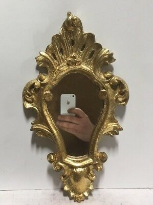 Vtg. Italian Florentine Gold Gilt Carved Wood Mirror Hollywood Regency