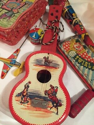 Antique Lot Of Metal Litho Toys , Horn Bugle, Guitar, Music Box And Parts