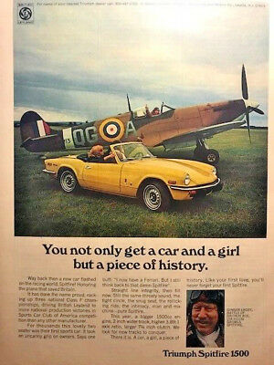 1973 Triumph Spitfire ad with pilot Ginger Lacey