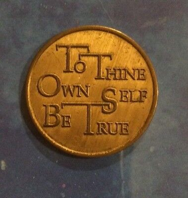 """Sobriety Recovery Coin Token Medallion Serenity Prayer """"To Thine Own Self Be..."""""""