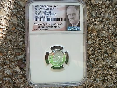 2015 w silver proof Roosevelt dime NGC PF 70 Ultra Cameo Early Releases