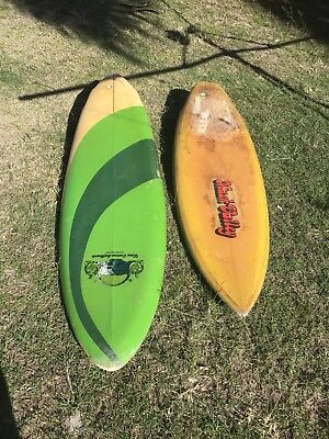 Two Vintage Surfboards Twin Fin And Thruster