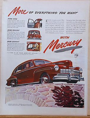 Vintage 1946 magazine ad for Mercury - red 2-door car in autumn