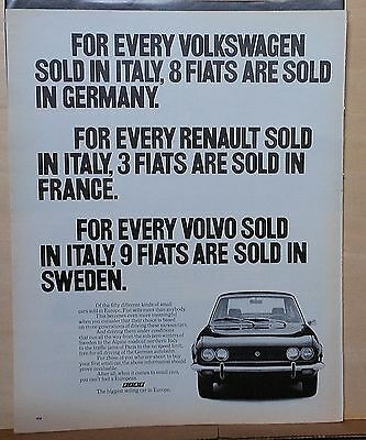 1971 magazine ad for Fiat - Fiat sells more cars in Europe than Renault, VW