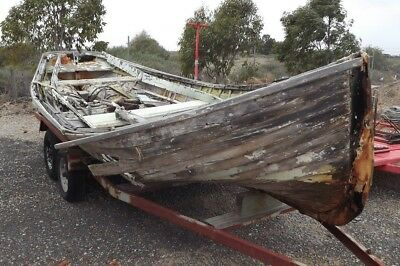 "Old klinker boat (17 footer) great for garden ornament or ""KEEN RESTORER"""
