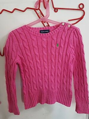 Polo Ralph Lauren Girl's Pink Cable Knit Jumper Size 5