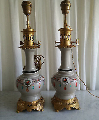 Antique French pair Lamps Porcelain Hand painted Ornate Table Lamps 19thC
