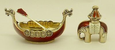 Superb Rare Norwegian Solid Silver Guilloche Enamel Elephant Pepper & Boat Salt