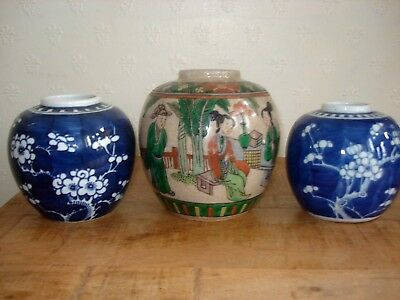 3xchinese 19th century qing period   ginger jars